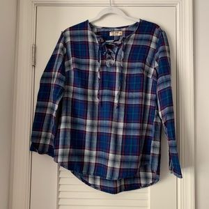 💜 {Ruff Hewn} Blue Plaid Blouse NWOT
